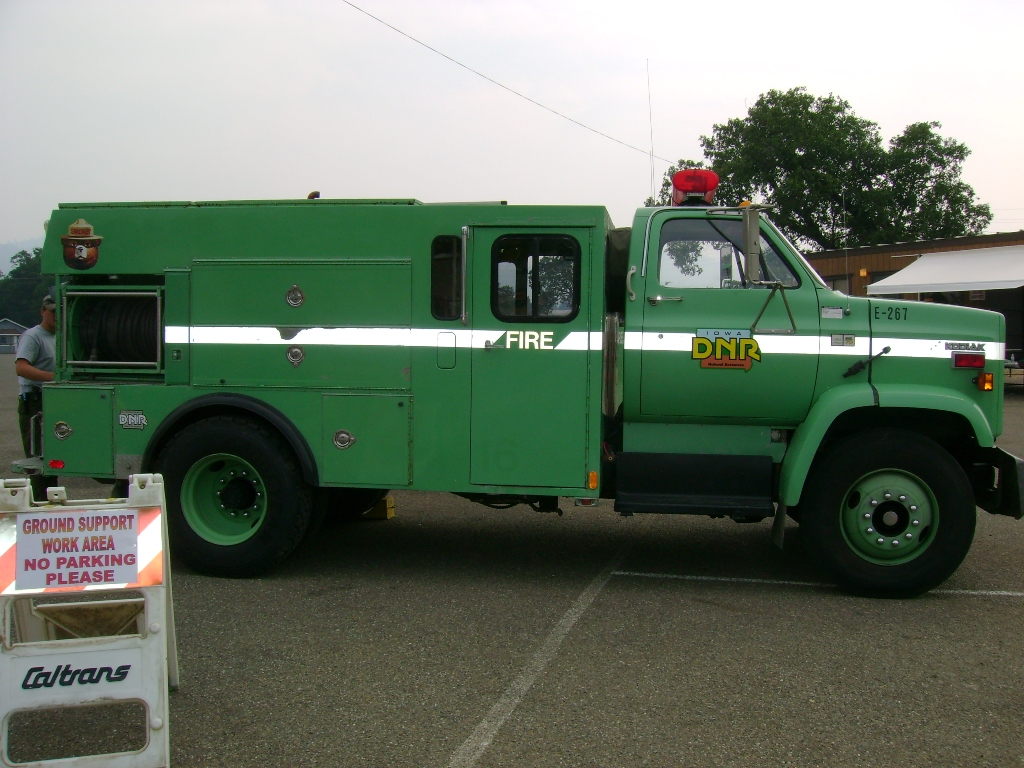 One of the Iowa DNR's fire trucks, now on duty in California