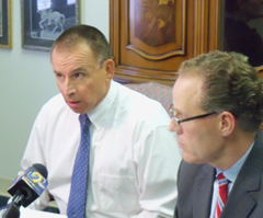 Larry Hedlund and his attorney Tom Duff. (L-R)