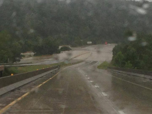 The Rolla Missouri Fire  Department posted this photo on Facebook of flooding over Interstate 44 at Jerome, Missouri.