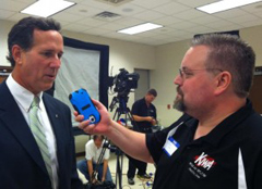 Rick Santorum being interviewed by Scott Van Aartsen.