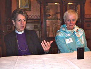 Bishop Katherine Jefferts Schori and Maggie Tinsman at news conference. (L-R)