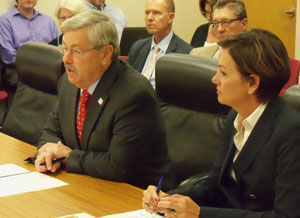 Governor Branstad and Lt. Governor Reynolds talks to the Board of Education.