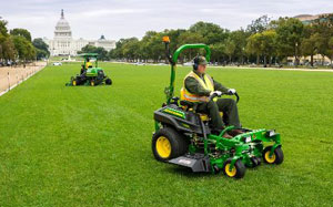 John Deere equipment mowing at the National Mall.