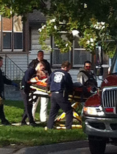 A person is taken from a home in Council Bluffs aftrer a shooting there this morning.