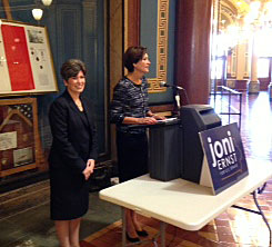 Lt. Governor Kim Reynolds (right) endorses Joni Ernst for the U.S. Senate.