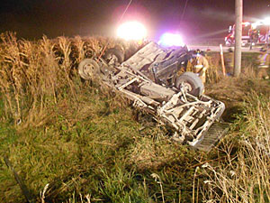 Two people died and three were injured in this accident. (Fayette County Sheriff's Dept. photo)