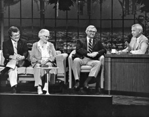 Terry Rich, Myrtle Whitcher, Gerald Lawton, Johnny Carson (L-R)