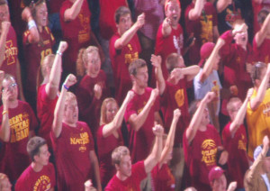 ISU students sing Sweet Caroline at the end of the third quarter.