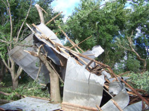 A grain bin destroyed by a tornado in Plymouth County.  (KLEM photo)