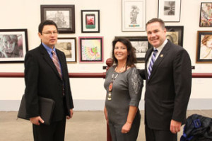 Congressman Bruce Braley with Larry Lasley Sr. and Theresa Mahoney of the Sac and Fox  Tribe.