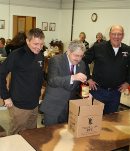 Templeton Rye cofounder Scott Bush, Governor Branstad and cofounder Keith Kerkhoff. (L-R)