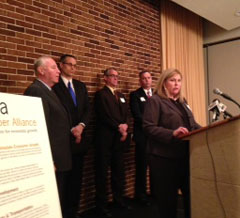 Kelly Halsted of Fort Dodge speaks at Iowa Chamber Alliance news conference.
