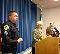 Des Moines police Sgt Jason Halifax, Chief Judy Bradshaw, Major Steve Waymire (L-R)
