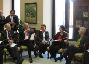 Iowa Senators Chuck Grassley and Tom Harkin (far left) joined colleagues in a meeting with the EPA administrator.