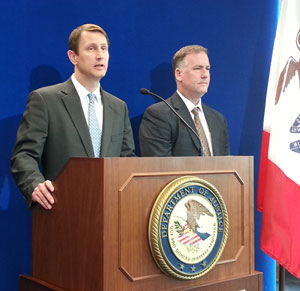 U.S. Attorney Nicholas Klinefeldt and Thomas Metz of the FBI. (L-R)