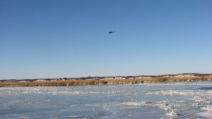 Eight hunters had to be rescued from the icy Missouri River  by the Nebraska State Patrol helicopter.
