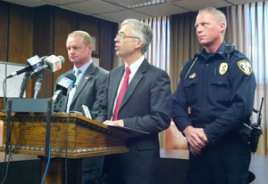 Special Agent In Charge Mitch Mortvedt, Sioux County Attorney Coleman McAllister and Orange City Police Chief Jim Pottebaum. (L-R)