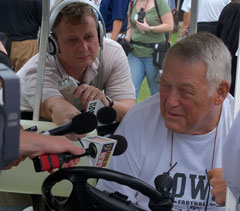 Norm Parker talks with the media in August of 2011.