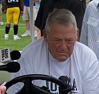Former Hawkeye football defensive coordinator Norm Parker at the 2011 media day.