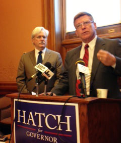 Bob Kraus (podium) endorses Jack Hatch for Governor.