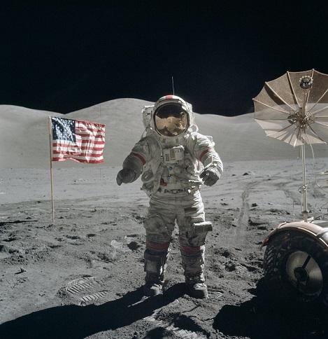 Capt. Gene Cernan on the moon (NASA photo)