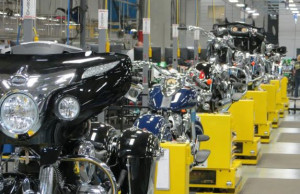 Motorcycle assembly line.