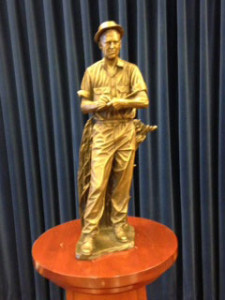 This is a smaller version of the Borlaug statue that will sit in the U.S. Capitol.