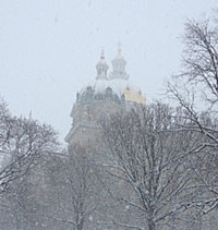 Snow on the capitol Monday.