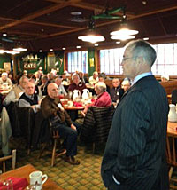 Danny Carroll speaks at an event this morning.
