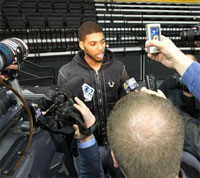 Roy Devyn Marble talks with the media. (UI photo by Brian Ray)