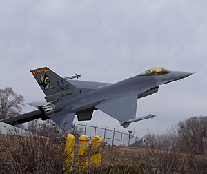 This display is the only  remaining Iowa F-16 at the air base in Des Moines.
