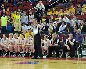 Janesville players and coaches watch the action on the court.