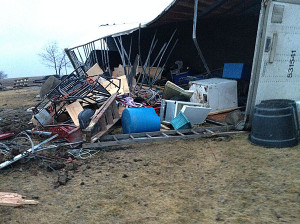 Debris left over from a tornado in Clarke County.