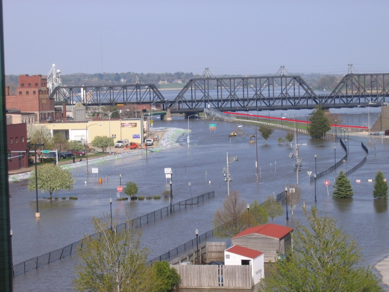Davenport's riverfront flooded in April of 2008