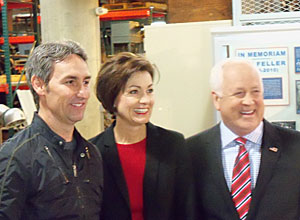 Mike Wolfe, Lt. Governor Kim Reynolds and Lottery CEO Terry Rich.
