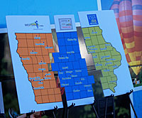 Map showing the 3 tourism regions in the state.