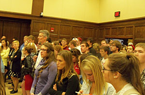 Students waiting to hear from ISU President Steven Leath on the fate of Veishea.