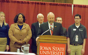 ISU President Steven Leath announces the decision on Veshea's fate.