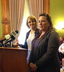 Maria La France  & Sally Gaer speak with reporters. (L-R)