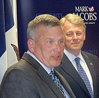 Iowa Ag Secretary Bill Northey (left) announces his endorsement of Mark Jacobs.