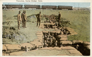 This Iowa Gold Star Military Museum photo shows World War I training at Camp Dodge trenches.