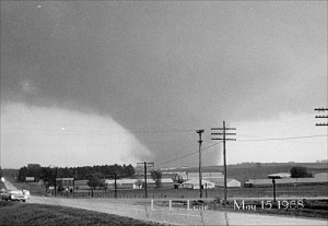 Photo taken by Floyd County Sheriff L.L. Lane. It shows the tornado when it was 2 miles southwest of Charles City.
