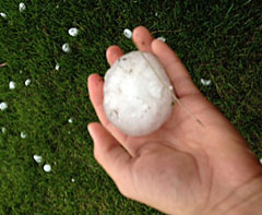 This large piece of hail fell in western Iowa Tuesday evening.