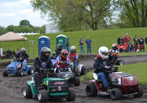Lawn mower race at the River Bottom Raceway.