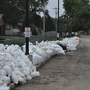 Sandbags in the street.