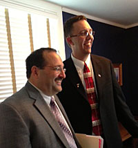 New Iowa GOP chair Kaufmann, on left, and Iowa GOP co-chair Cody Hoefert on right