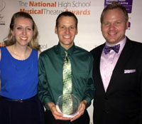 Des Moines Performing Arts education manager Karoline Myers, Apple Award winner Brian Sammons of Aplington, DMPA director of programming and education Eric Olmscheid. (L-R)