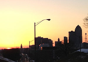 Des Moines skyline at sunsent.