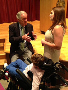 Senator Tom Harkin visits with Meghan Malloy & her son, Judah.