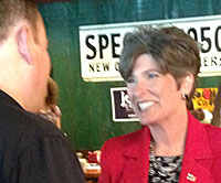 Joni Ernst campaigned at an Urbandale restaurant this morning.